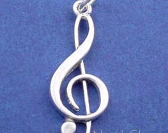 TREBLE Clef Charm, Music SYMBOL .925 Sterling Silver Charm