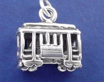 CABLE CAR Charm, San Francisco, Trolley .925 Sterling Silver Charm