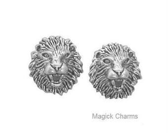 LION HEAD Eearrings .925 Sterling Silver Leo Zodiac Sign Astrology Symbol Post Stud
