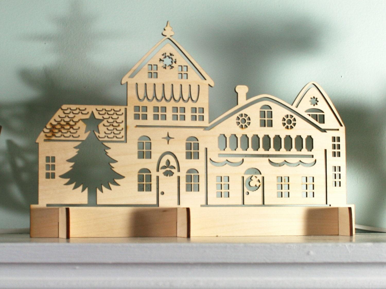 #977234 Laser Cut Rustic Wood Christmas Village Scene Holiday 6437 décoration noel laser 1500x1125 px @ aertt.com