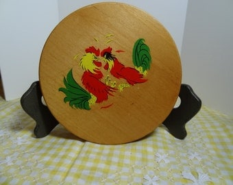 Wood Hamburger Press with painted Roosters