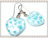 Blue Love Heart Earrings~Blue Love Heart Earrings With 3D Flowers~Women's Blue Love Heart Earrings