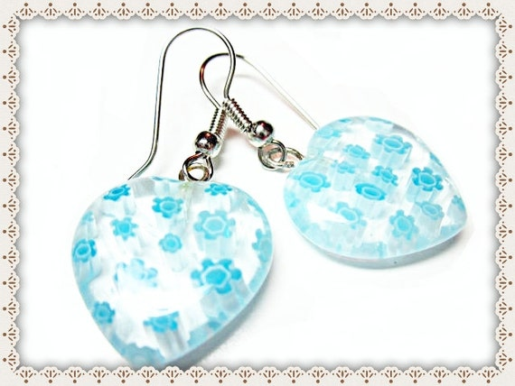 Blue Love Heart Earrings