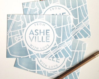 "Set of Three ""From Asheville With Love"" Postcards // Asheville, North Carolina Watercolor Map Postcard"