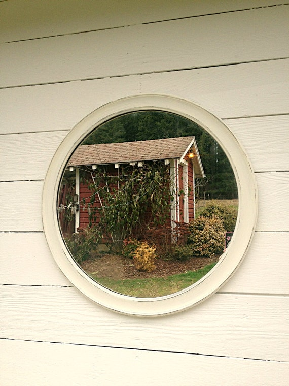 Round Vintage White Mirror Shabby Rustic Cottage Chic