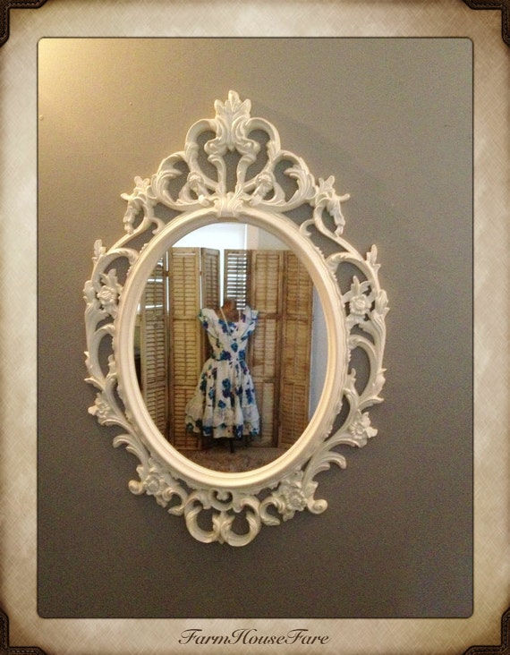 Ornate mirror baroque mirror large wall mirror by for Baroque oval mirror