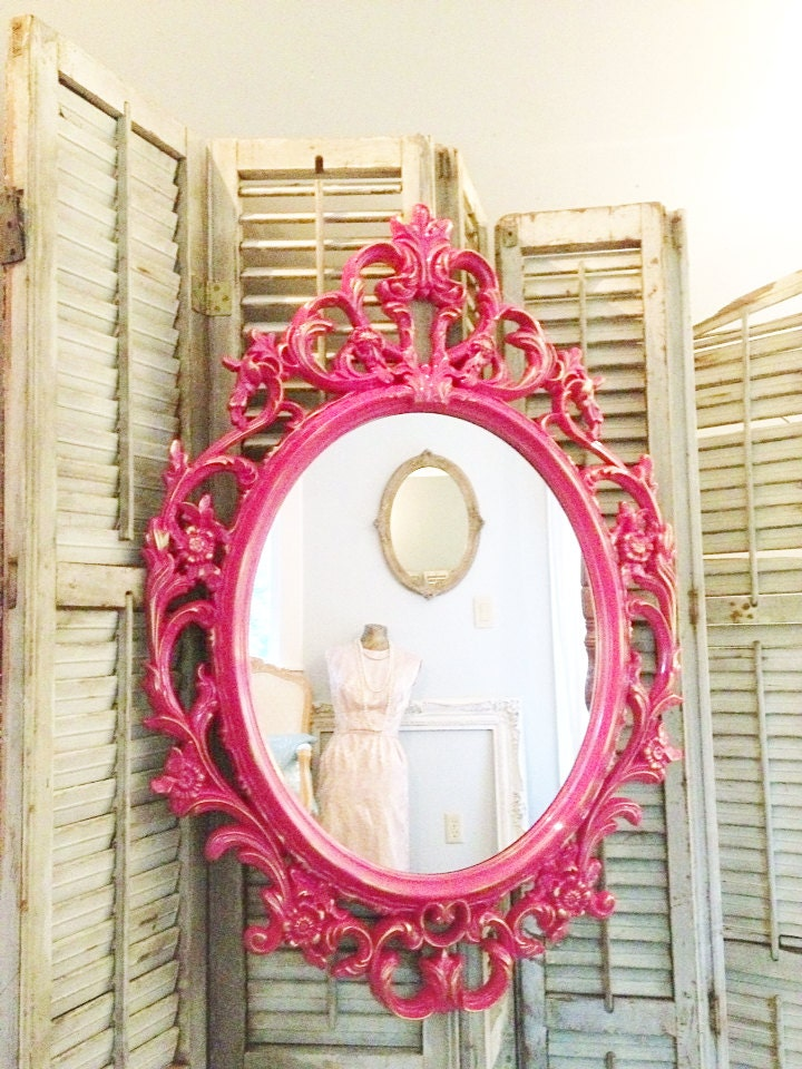 Shabby chic mirror hot pink and gold mirror girls bedroom for Miroir rose gold