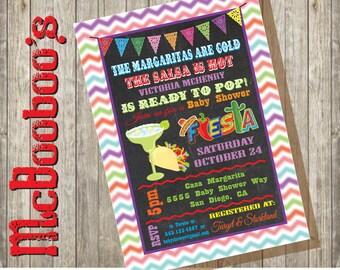 Chalkboard Chevron Watercolor Mexican Fiesta Baby Shower Invitations