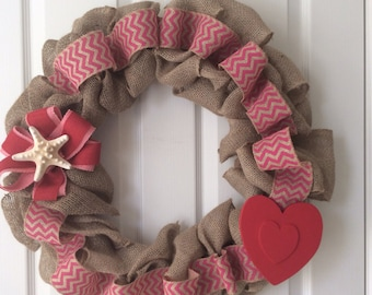 18 inch burlap Valentine's Day wreath
