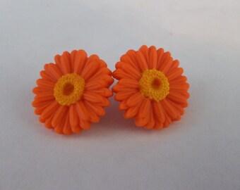 Orange Gerbera Daisy earrings