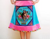 Kitsch Kitten Skirt Floral Bohemian Neon colors Plus Size Floral Vintage Embroidery US size 14 EU size 44