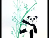 Adorable black and white panda with watercolor bamboo