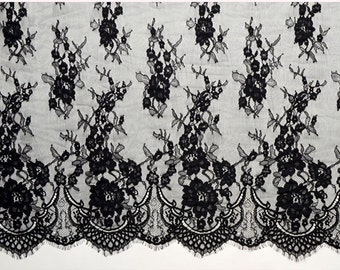 "27""*115"",3 Yards black Exquisite Chantilly Lace, Eyelash Lace Trim in white  For Wedding, Shawls, Black Skirt, Lingerie,white lace trim"