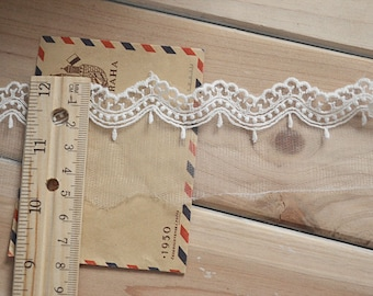 wave Lace trim-white ribbon for sewing