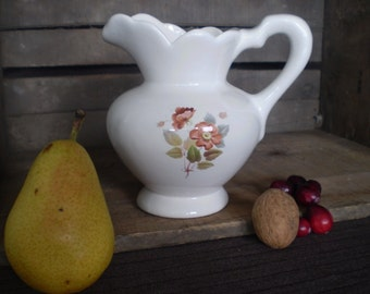 Brown Rose and Leaves on White Pitcher with Ruffle Edge and Handle, Kitchen Jug with Flowers