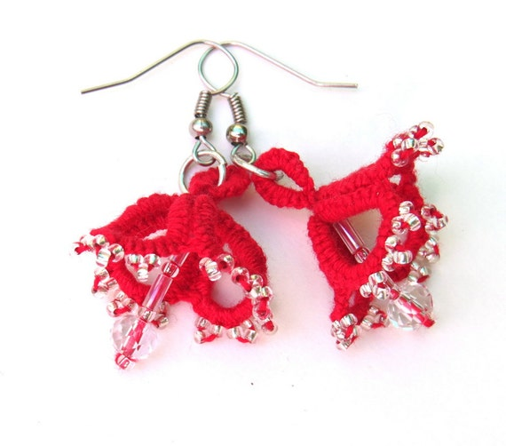 Handmade tatted earrings red with clear seed beads and clear glass crystal beads