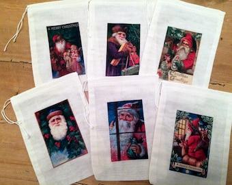 Santa Victorian Christmas Holiday Favor Bags. Gift Set of 6 Vintage Drawstring 5x7 Bags