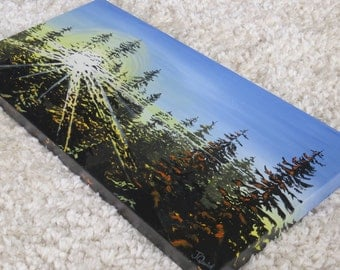 "Sunset painting, seattle art, sunset painting, landscape painting, tree art, original acrylic painting 15""x30"""