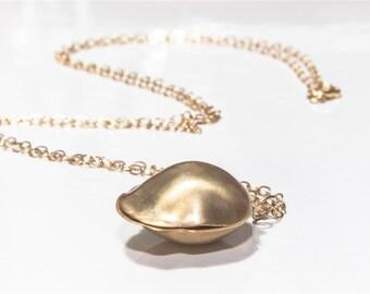 Gold Shell Locket Necklace , Ocean Seashell Locket Necklace ,  Nautical Jewelry , Mermaid Necklace , Seashell Pendant