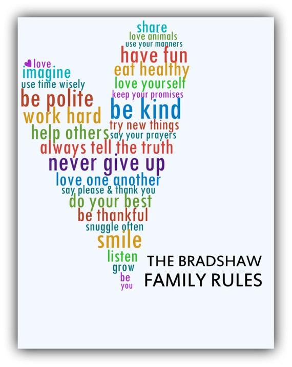 Le regole della famiglia stampa housewarming regalo amore sala for Famiglia parete