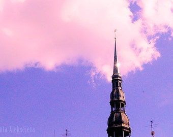 St. Peter's church tower in Riga, Latvia on a sunny day - Fine Art Photography - Photography Print, Wall decor