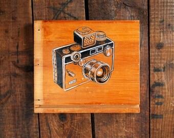 Argus C3 Camera Art Painting on Wood, Hand Painted Art on Reclaimed Wood, The Brick