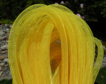 "Mini nonmetallic Yellow Tubular Crin Cyberlox 1/4"" 5 Yards Ribbon Crinoline hair"