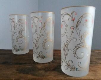 Set of 3 Vintage 60's Highball Glasses
