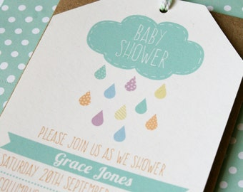 Tag style baby shower invitation set - whimsical cloud and rain drops