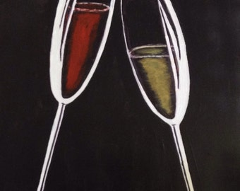 """18""""x24"""" Abstract Painting of Champaign/Wine Glasses"""