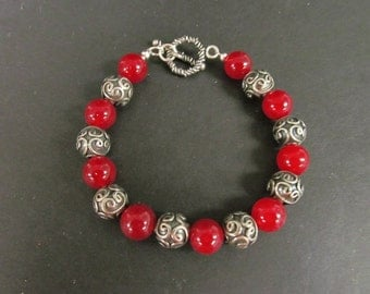 Bali Sterling Silver and Ruby Bead Bracelet