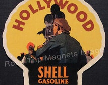 Shell Gasoline 1920s Travel Decal Magnet for HOLLYWOOD Ver.1. Accurate reproduction & hand cut in shape as designed. Nice Travel Decal Art.