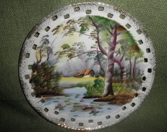 Ucagco China Plate  of a Beautiful Hand Painted Landscape