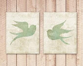 8x10 Printable Art Prints, Sparrow Wall Art, Green Floral Nursery Print, Home Decor, Set of 2, Bird Prints, Nature