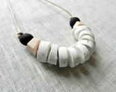 Handmade Clay and Sand Fishbone Necklace, Minimalist Jewelry