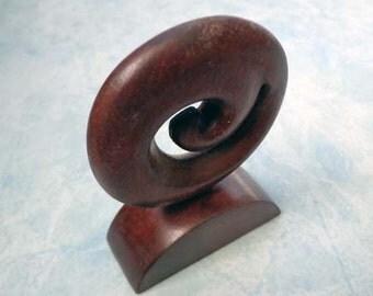 Wood Maori Koru carving statue. W4