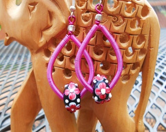 Pink Wire Wrapped Earrings with Pink Flower Lampwork Rondelle Beads