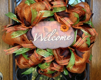 Fall Welcome Wreath, Fall Deco Mesh Wreath