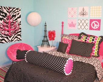 Teen Wall Art  Chandelier Wall Art  Bright Pink Chandelier  Zebra Print  Hot Part 51