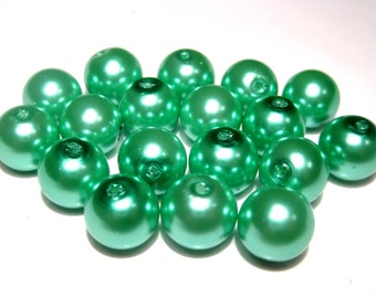 100pcs Glass Pearl Beads Teal Green 6mm Round