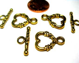 10 sets Antique Gold Heart Toggle Clasps Double Sided
