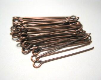 100pcs Antique Copper Eye pins 30mm 21ga(No.600)