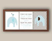 Nursery Art - Elephant Nursery Decor - Nursery Quote - Blue And Brown - Nursery Art Set Of Three Prints - Any Color - Polka Dot Nursery Art