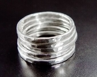5 Sterling Silver Stacking Rings. Set of 5.