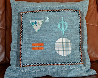 Exclusive, handmade science cushion with Laplace equation in appliqué.