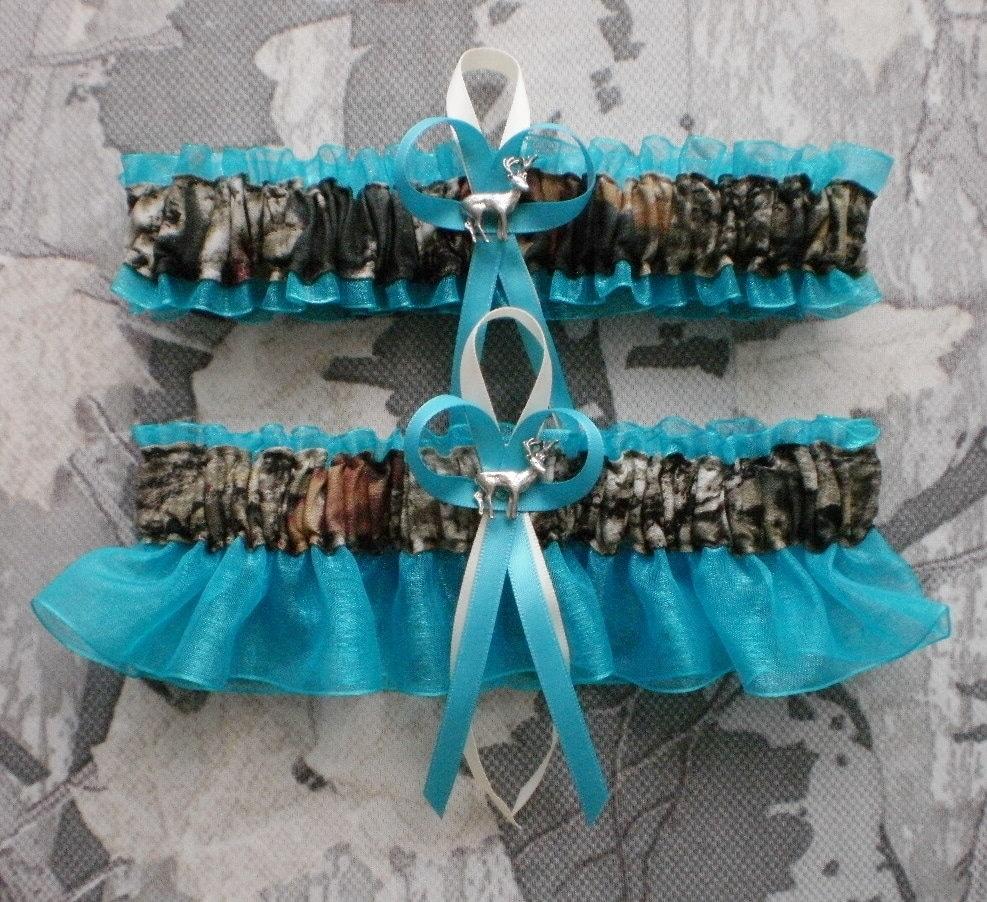 Mossy Oak Turquoise Wedding Garter Set Camouflage Camo Deer