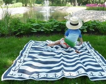 "Nautical Blanket Navy Blanket Marine Blanket Anchor Blanket Cotton Picnic Blanket 54,6x62,4"" outdooors blanket kids blanket baby blanket"
