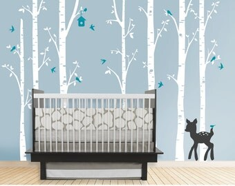 Birch Decal with Deer, set of 7 birch trees, fawn decal, Nursery Birch Tree, woodland, woods