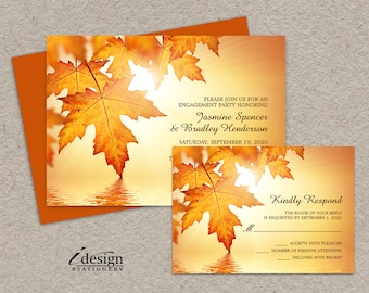 Fall Engagement Party Invitations And RSVP Cards, DIY Printable Fall Engagement Invitation Sets With Orange Autumn Leaves
