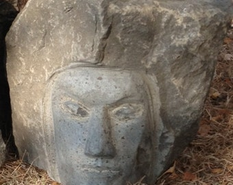 """Hand-Carved Basalt Stone Face Sculpture """"Prince of Truth"""" by Oregon Artist Joe Rivera"""
